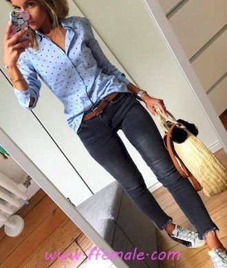 Summer Outfits Top fashionable and relaxed outfit idea - denim, dot, sneakers, model, lifestyle, blue, handbag