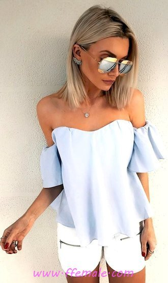 Top adorable and top look - shorts, denim, sunglasses, white, blue, strapless