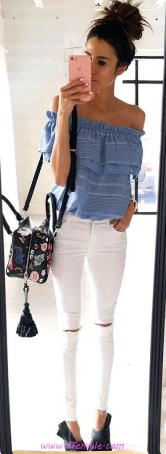Top awesome and pretty inspiration idea - denim, offshoulder, white, handbag