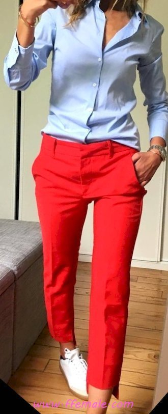Top awesome and top wardrobe - pants, shirt, sneakers, model, posing, red, blue