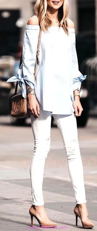 Top beautiful and top inspiration idea - outfits , heels, offshoulder, skinny