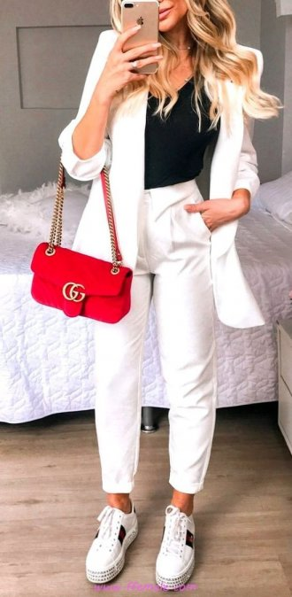 Top classic and cute outfit idea - sneakers, blazer, photoshoot, outerwear, white, handbag