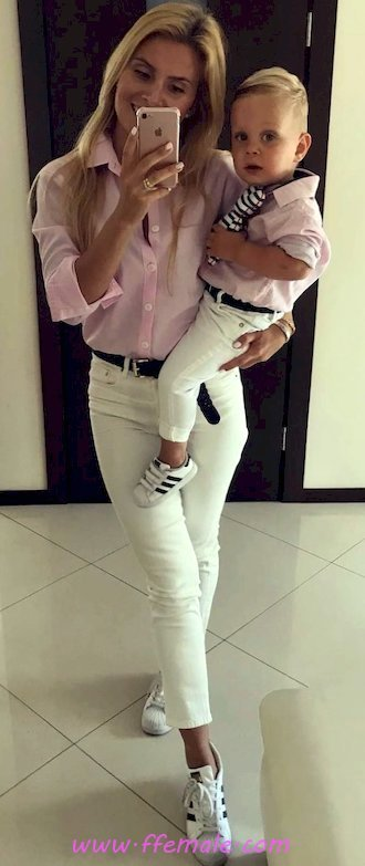 Top classic and handsome outfit idea - denim, shirt, sneakers, female, posing, wearing, white