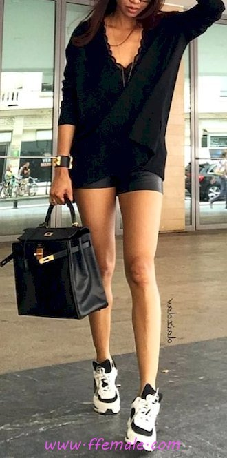 Top classic and shiny inspiration idea - shorts, trainers, lifestyle, style, black, handbag