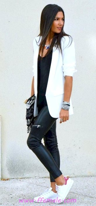 Top classic and trendy wardrobe - sneakers, blazer, leather, black, white, handbag, accessories