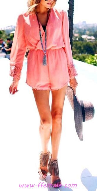 Top comfortable and relaxed look - hat, vneck, sundress, wearing, attractive, shoes, heels, stylish, pink