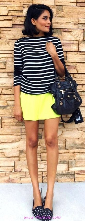 Top elegant and trendy outfit idea - striped, model, female, stylish, clothes, yellow, handbag