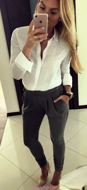 Top furnished and trendy look - gray, pants, shirt, pumps, heels, style, white