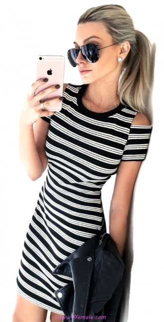 Top graceful and relaxed inspiration idea - striped, dress, clothing, lifestyle, style, sunglasses, handbag