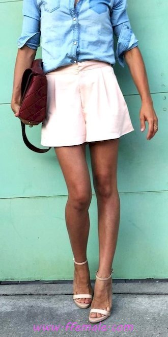 Top graceful and shiny look - shirt, model, woman, heels, pink, blue, handbag