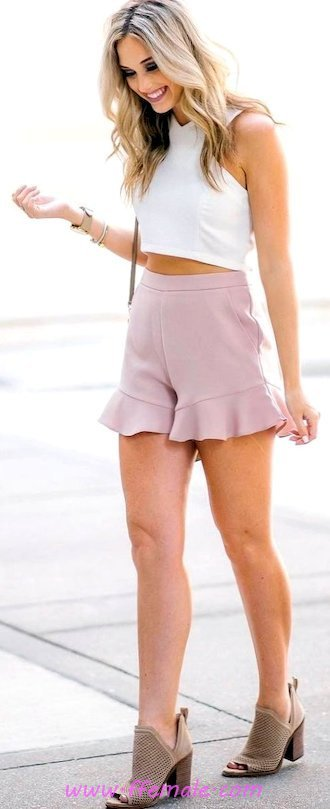 Top graceful and wonderful outfit idea - shorts, croptop, halter, photoshoot, happy, pink, white